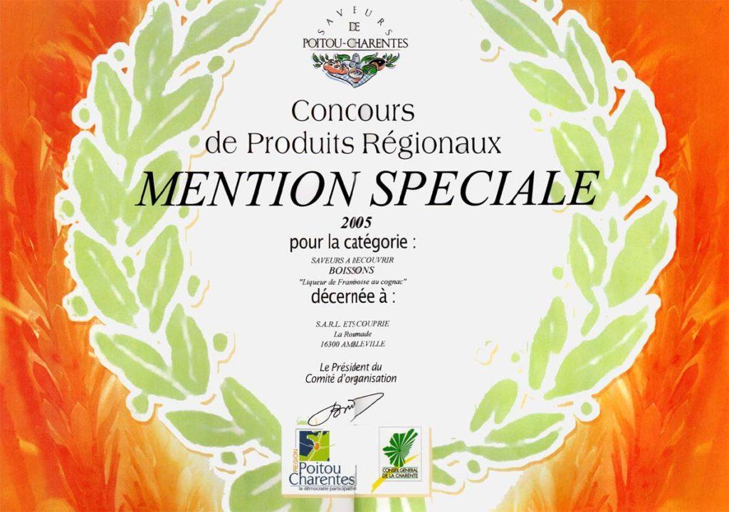 Liqueur de Framboise, mention spéciale 2005, Saveurs de Poitou-Charente