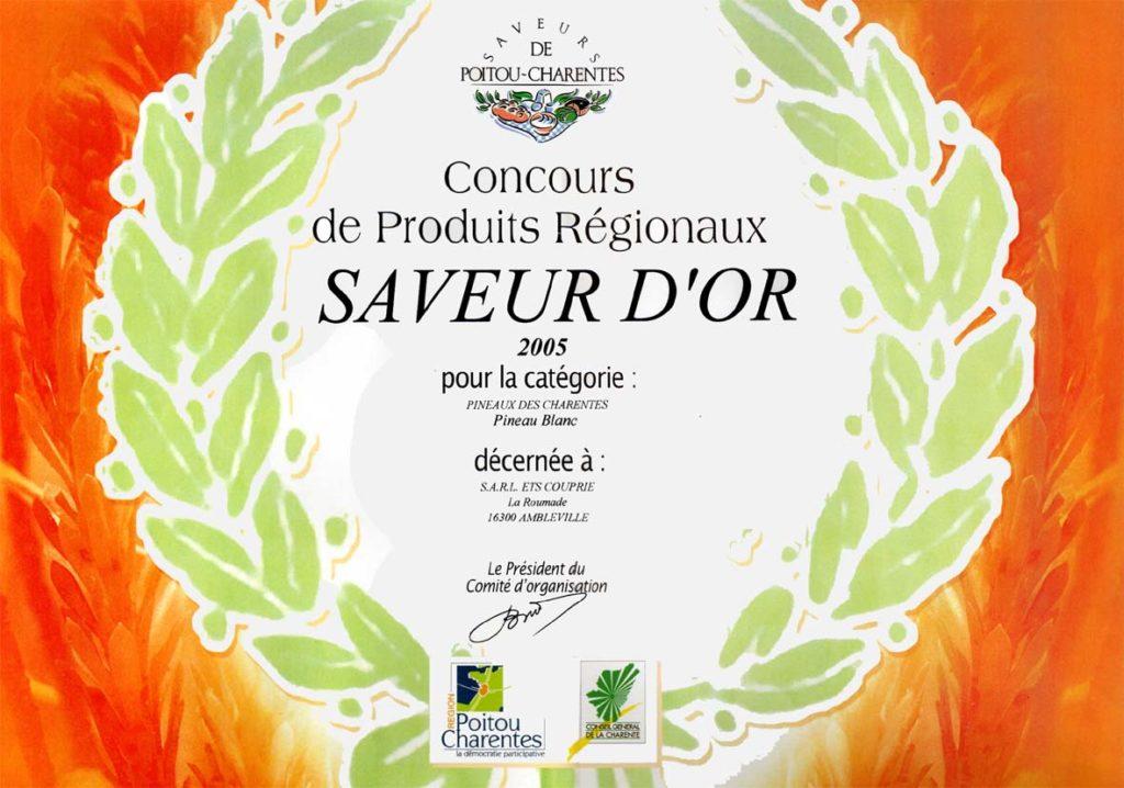 Pineau des Charentes blanc, Saveur d'Or 2005, Concours Saveurs de Poitou-Charente.