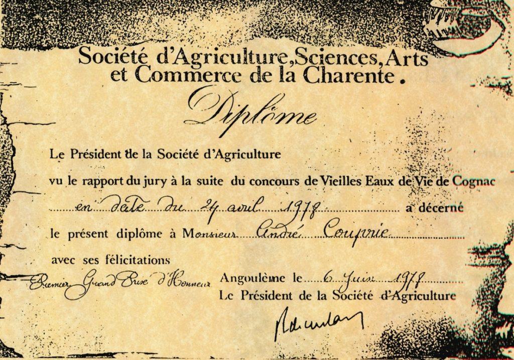 Concours des vieilles Eaux de vie, Grand prix d'Honneur 1978.